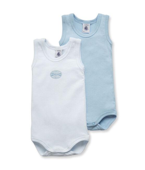 Confezione di 2 bodies bebé bambino senza maniche tinta unita / millerighe lotto .
