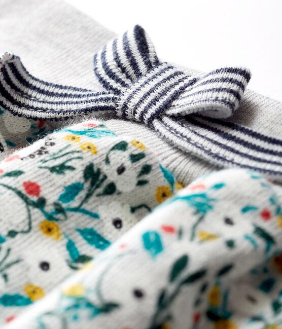 Pantalone bebè femmina in molleton fantasia grigio Beluga / bianco Multico