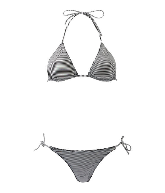 Bikini donna millerighe blu Abysse / bianco Lait