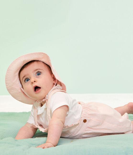 Salopette corta rigata bebè femmina rosa Rosako / bianco Marshmallow
