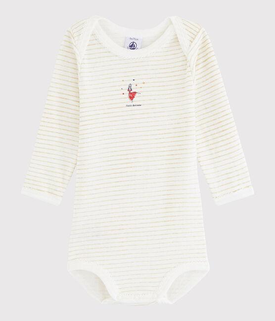 Body manica lunga bebè femmina bianco Ecume / giallo Or