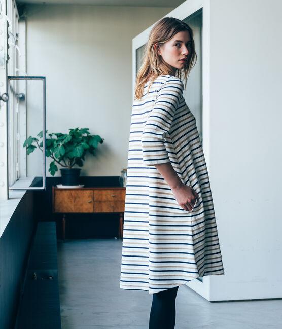 abito ampio a righe tricolore donna bianco Marshmallow / blu Smoking