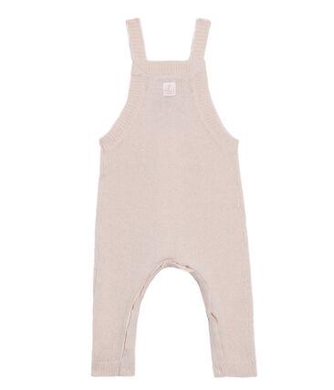 Salopette lunga bebè maschio in tricot di lana, nylon e alpaca. rosa Fleur
