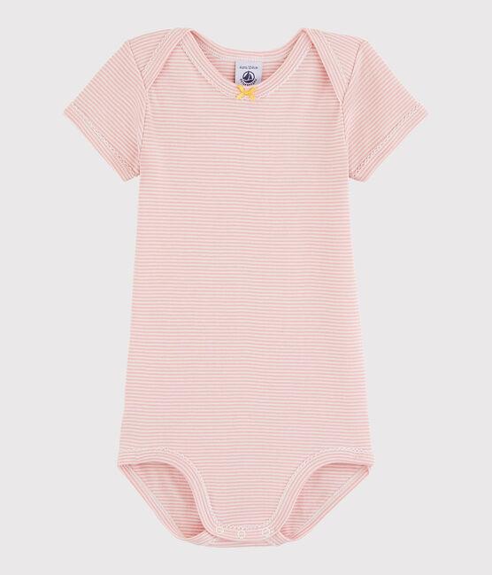 Body manica corta bebè femmina rosa Charme / bianco Marshmallow