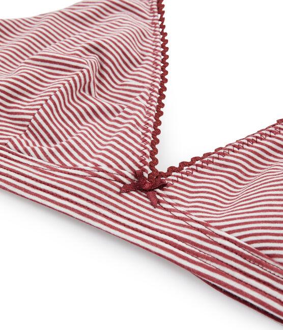 Reggiseno a triangolo donna rosso Carmin / bianco Marshmallow