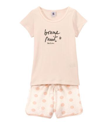 Pigiama corto bambina doppio tessuto con serigrafia bianco Lait / rosa Rose