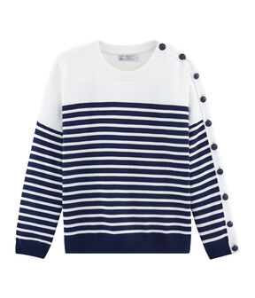 Pull donna blu Smoking / bianco Marshmallow