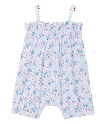 Combicourt per bebè femmina stampato bianco Ecume / blu Bleu