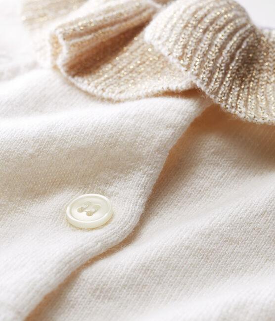 Cardigan bambina in maglia di lana e cotone bianco Marshmallow