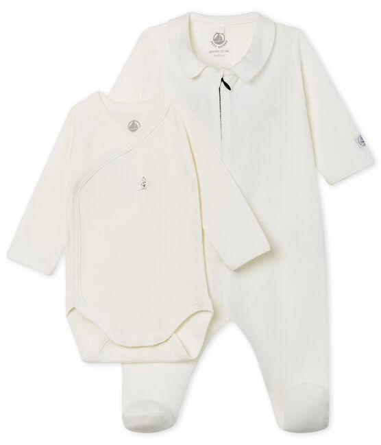 Tutina pigiama bebè in velluto con zip bianco Marshmallow