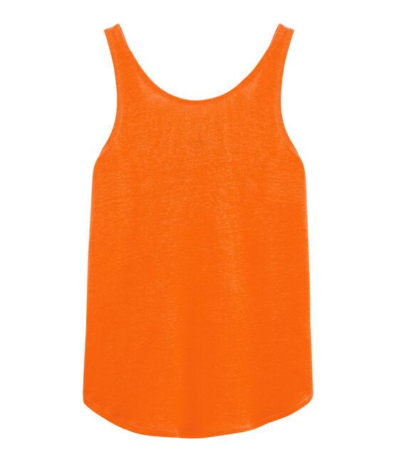 Canottiera in lino donna arancione Tiger