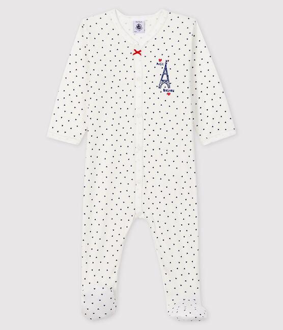Tutina Paris bebè femmina a costine bianco Marshmallow / blu Medieval