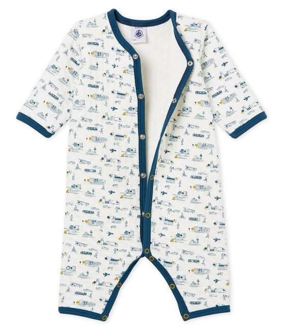 Tutina pigiama senza piedi bambino in tubique bianco Marshmallow / bianco Multico