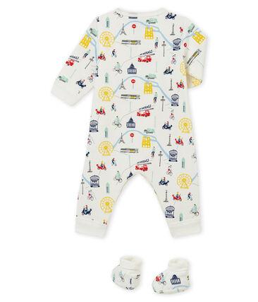 Coordinato: pigiama + calze per bebé maschio bianco Marshmallow / bianco Multico