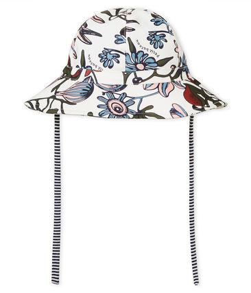 Cappellino da pescatore neonata in cerata fantasia bianco Marshmallow / bianco Multico