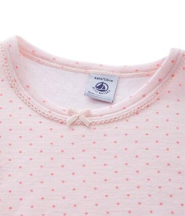 T-shirt bambina in lana e cotone rosa Vienne / rosa Gretel
