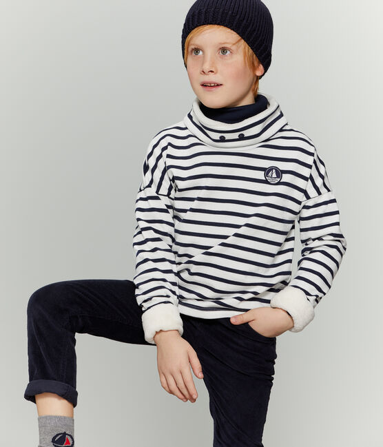 Felpa bambino bianco Marshmallow / blu Smoking