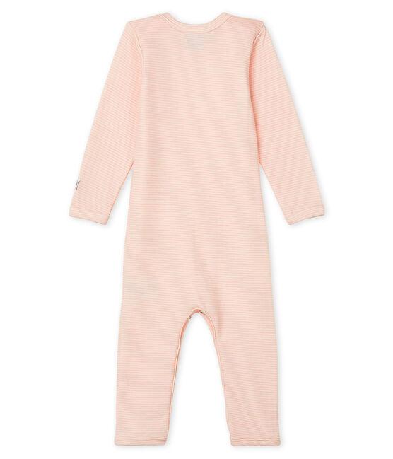 Body lungo bebè in lana e cotone rosa Charme / bianco Marshmallow