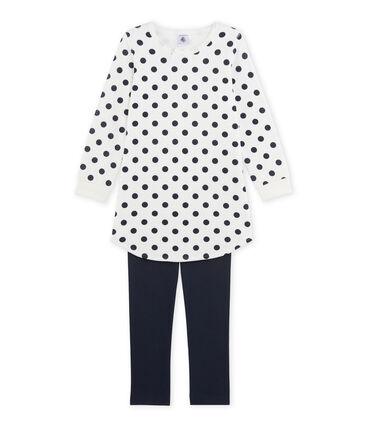 Camicia da notte per bambina in ciniglia blu Smoking / bianco Lait