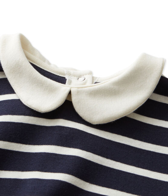 T-shirt fille manches longues rayé blu Smoking / beige Coquille