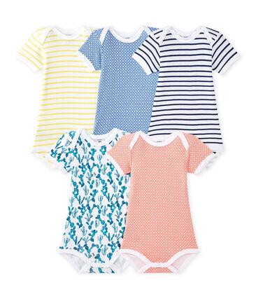 Lotto di 5 bodies per bebé maschio a maniche corte