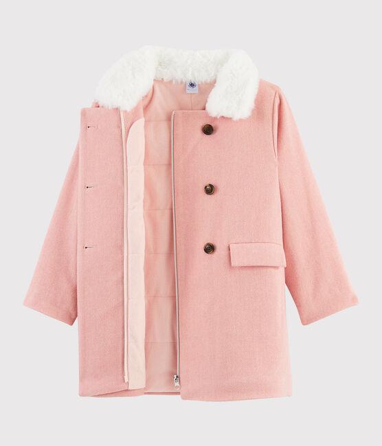 Cappotto in drap di lana ragazza rosa Rose