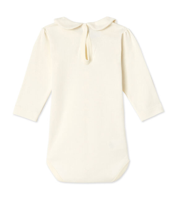 Body bebé femmina con colletto claudine beige Coquille