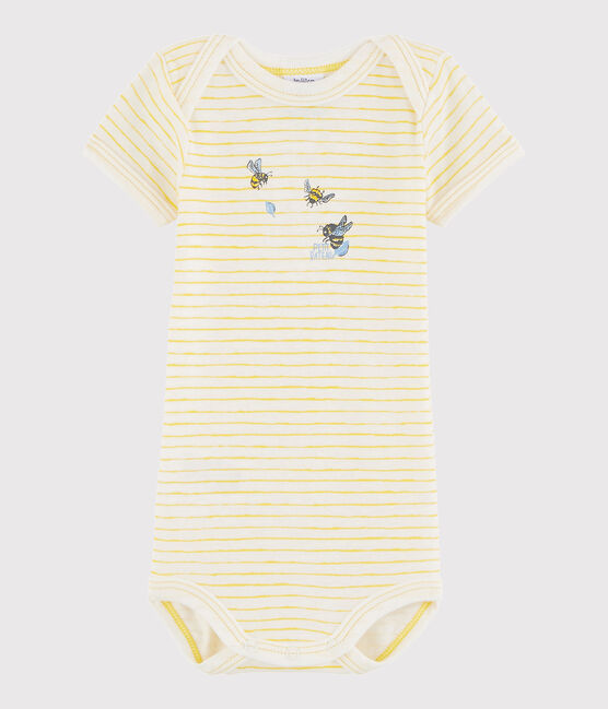 Body a manica corta bebè unisex bianco Marshmallow / giallo Jaune