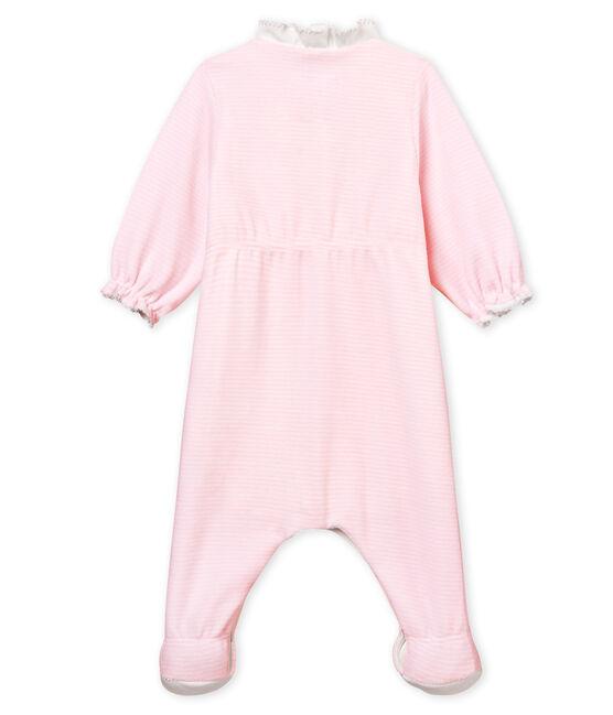 Bodyjama bebè femmina in velluto millerighe rosa Pearl / bianco Multico