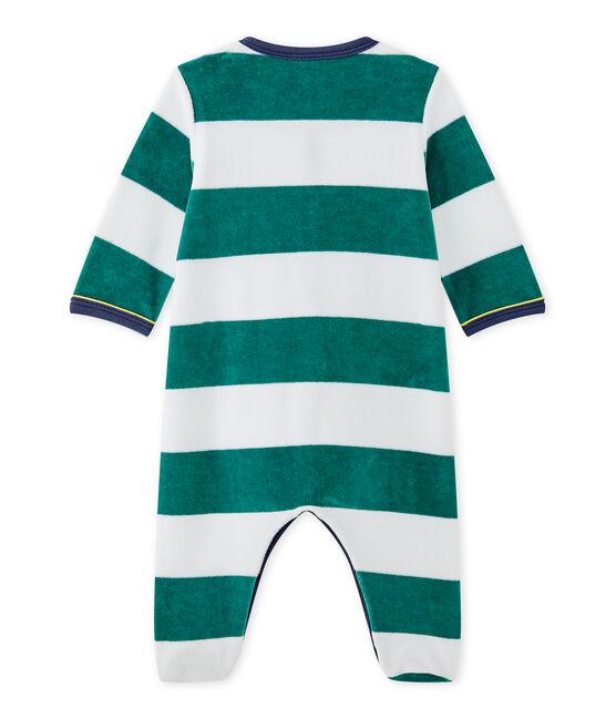 Tutina per bebè bambino in velluto a righe verde Olivier / bianco Ecume