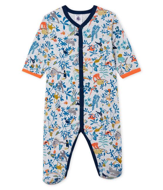 Tutina pigiama bambino a costine grigio Poussiere / bianco Multico