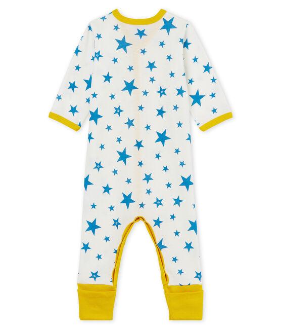 Tutina pigiama senza piedi bambino a costine bianco Marshmallow / blu Alaska