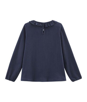 T-shirt maniche lunghe bambina blu Smoking