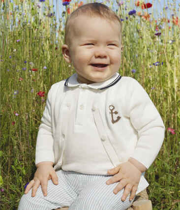 Pantalone bebè maschietto in seersucker (tessuto goffrato) blu Acier / bianco Marshmallow