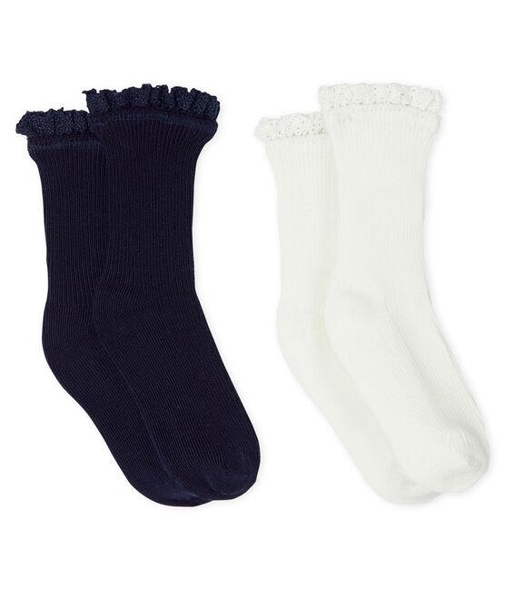 Confezione da 2 paia di calzini in pizzo bebè femmina blu Smoking