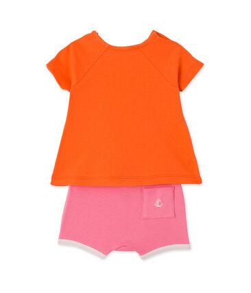 Coordinato per bebè femmina shorts e t-shirt arancione Brazilian / rosa Petal