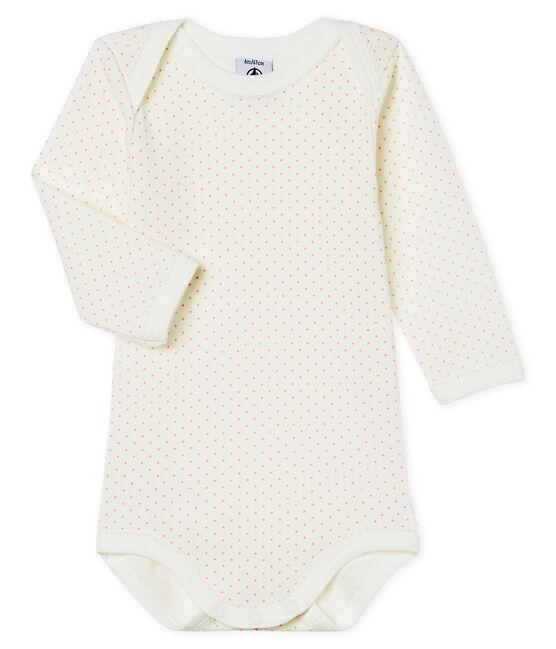 Body manica lunga bebè femmina bianco Marshmallow / rosa Charme