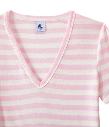 T-shirt donna scollo V in costina originale 1x1 rigata