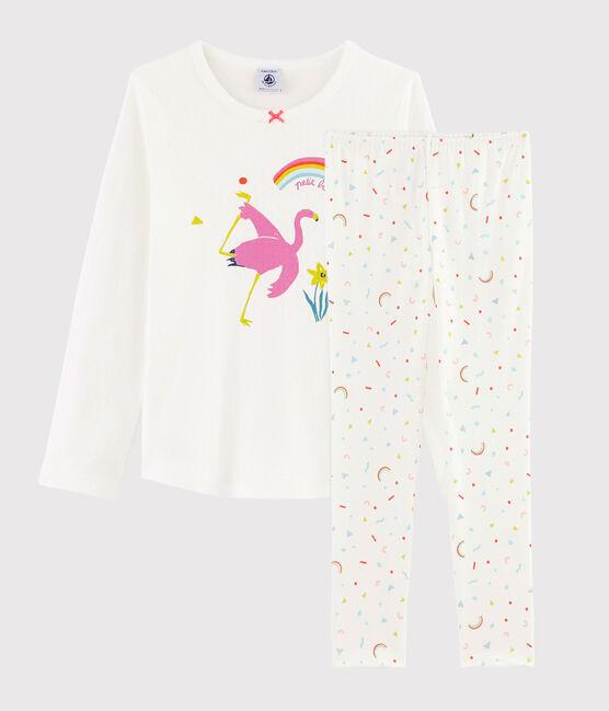 Pigiama fenicottero rosa bambina a costine bianco Marshmallow / bianco Multico