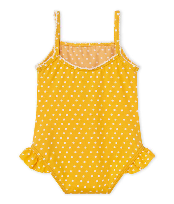 Costume da bagno bebé bambina a pois arancione Fusion / bianco Marshmallow