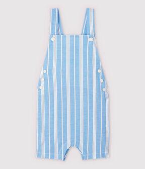 Salopette corta in popeline rigata bebè maschio blu Jasmin / bianco Marshmallow