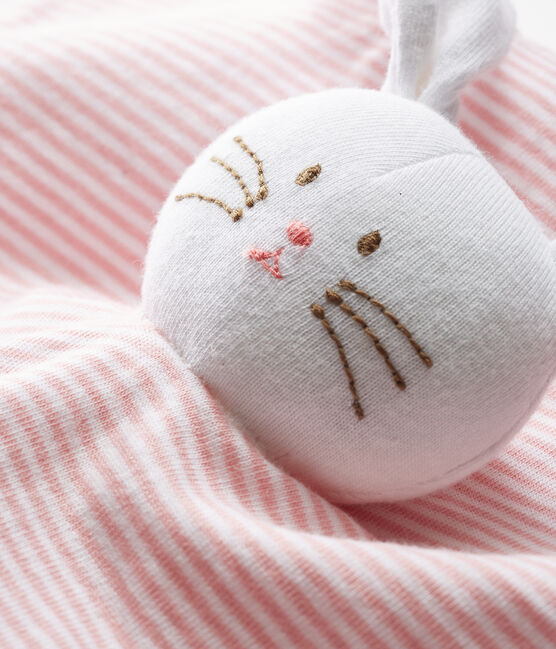 Doudou coniglietto bebè in cotone rosa Charme / bianco Marshmallow