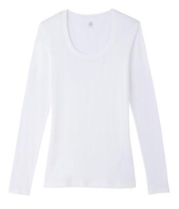 T-shirt a manica lunga con scollo rotondo donna bianco Marshmallow