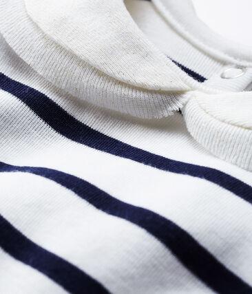 Blusa a manica lunga bebè femmina a righe marinare bianco Marshmallow / blu Smoking Cn
