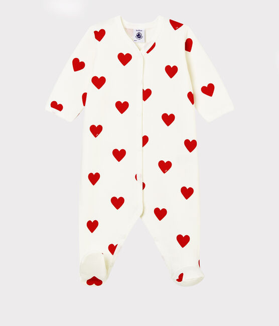 Tutina a cuori rossi bebé a costine bianco Marshmallow / rosso Terkuit