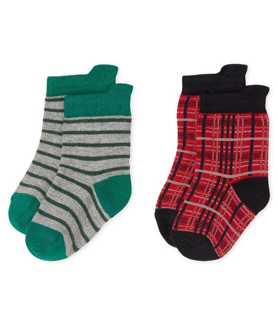 Confezione da 2 paia di calzini bebè maschio rosso Terkuit
