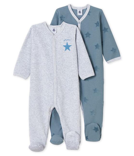 Confezione da 2 tutine pigiama bebè in jersey e ciniglia lotto .