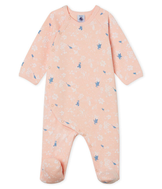 Tutina bebé femmina in molleton rosa Minois / bianco Multico