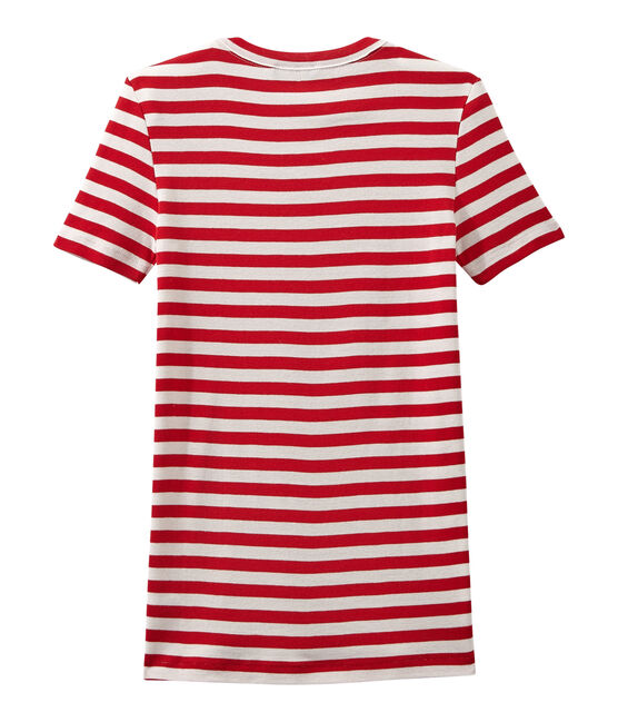T-shirt donna in costina originale 1x1 rigata rosso Terkuit / bianco Marshmallow