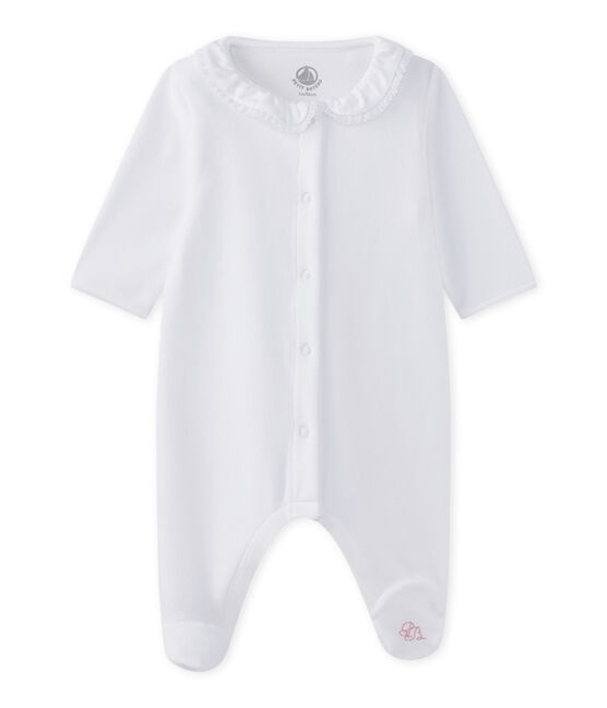 Tutina per bebé femmina in cotone bianco Ecume